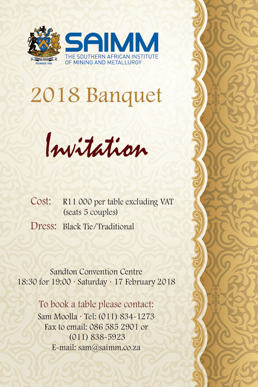 SAIMM Banquet Invitation 2018 2