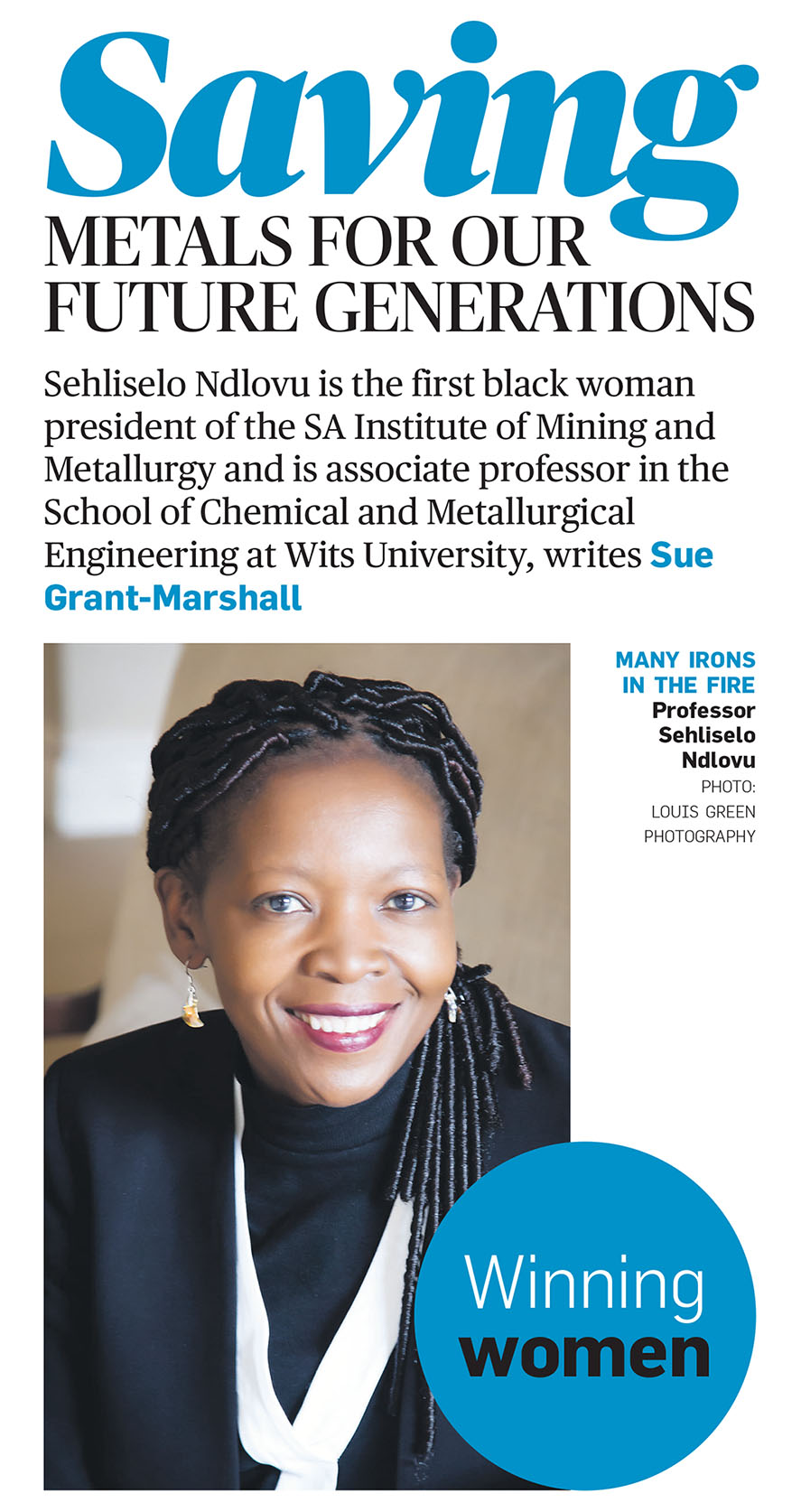 Saving Metals for our Future Generations - Sehliselo Ndlovu | City Press - Sunday 15th April