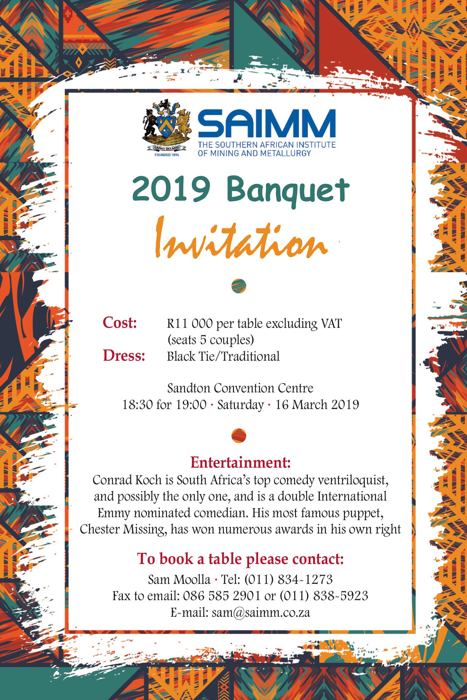 SAIMM Banquet Invitation