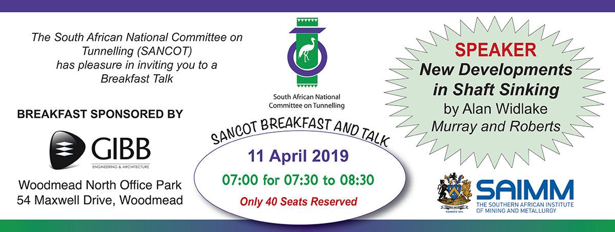 SAIMM - SANCOT Breakfast and Talk-Upcoming Events