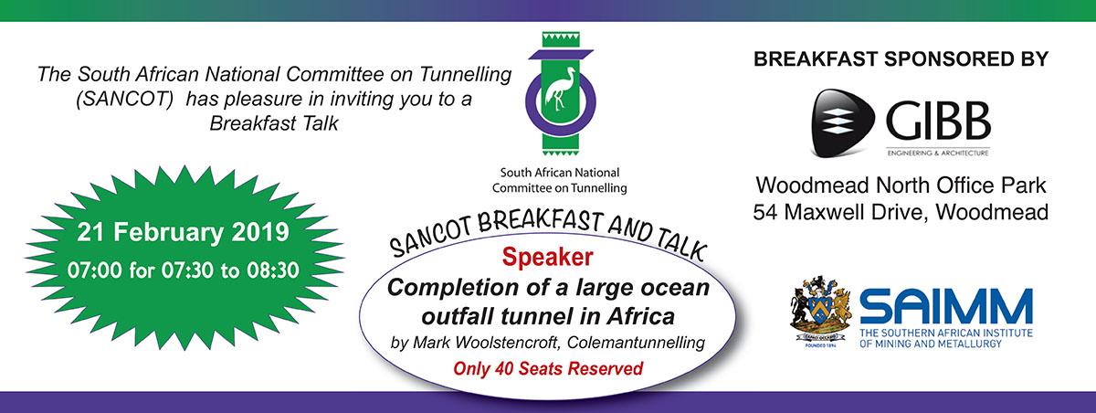 SAIMM - SANCOT Breakfast and Talk -Upcoming Events