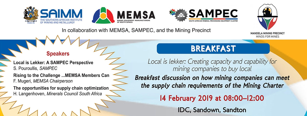 Breakfast discussion on how mining companies can meet the supply chain requirements of the Mining Charter